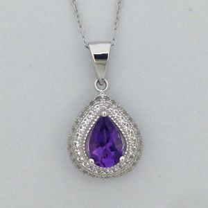 Natural Amethyst with White Sapphire Pendant